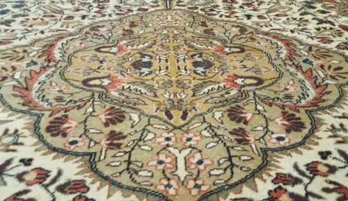 Authentic Ca1900-1939s Antique 7x10ft  Wool Pile Muted Colors Hereke Rug