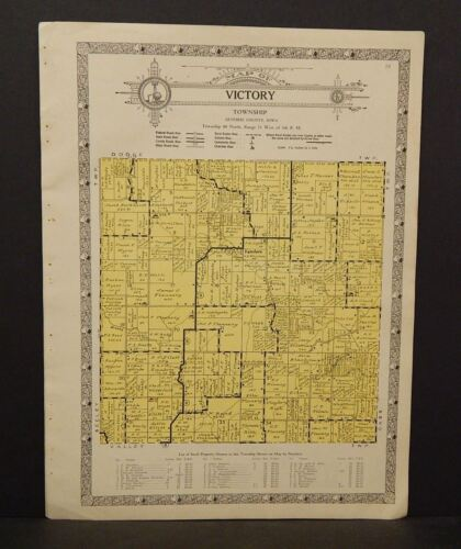 Iowa Guthrie County Map Victory Township 1928   W11#03