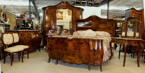 Antique Country French Bombay Burl Walnut Eight Piece Bedroom Set Queen Bed