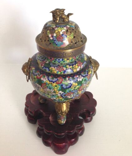 "Old Vintage 8"" Chinese Cloisonne Incense Burner Censer Thousand Flowers ~Stand"