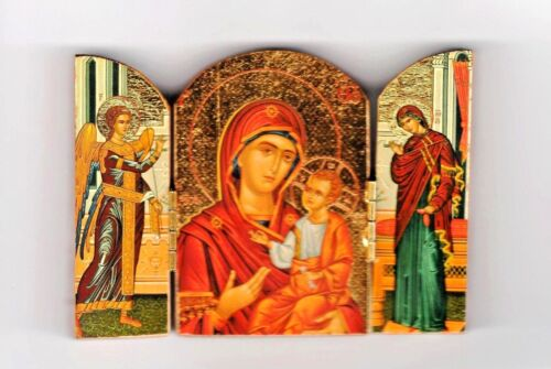 """Orthodox Icon Triptych (3""""x4"""")Folding Wooden w/Gold Leaf from Greece -variations"""