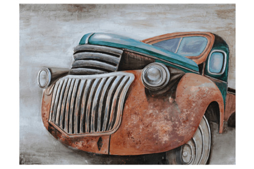 3D Oil Painting Art Old Red Ute with Blue Top Canvas Framed