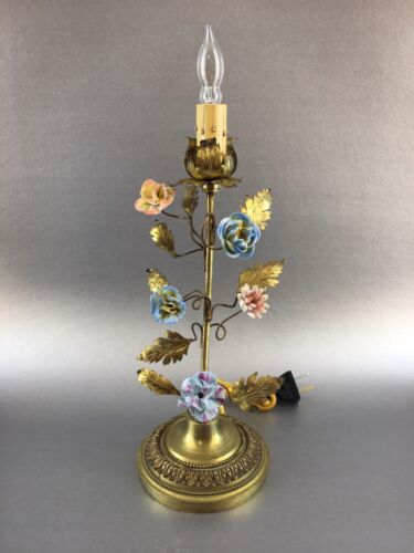 Antique French Boudoir Brass Table Lamp with Beautiful Porcelain Flowers Accent