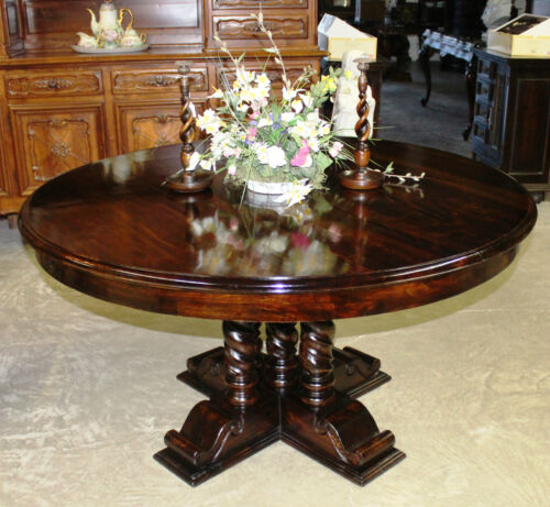 Antique Style Country French 60 inch Round Hardwood Barley Twist Dining Table
