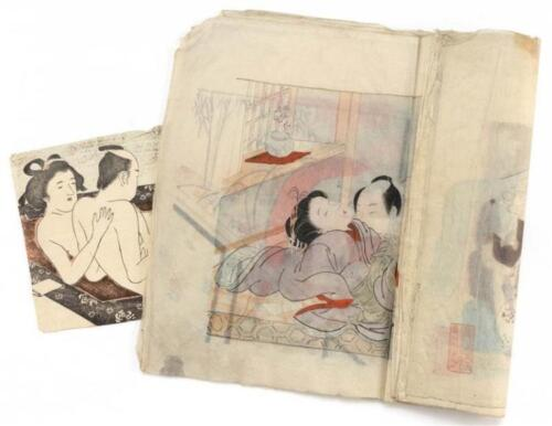 TEN BOUND JAPANESE HAND-COLORED SHUNGA DRAWINGS Signed and seal marke... Lot 523