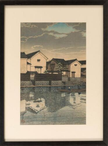 """KAWASE HASUI """"Cloudy Day at Matsue"""". Canal scene with boatmen. Publis... Lot 635"""