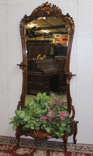 Antique French Walnut Hand Carved Etagere Hall Entry Mirror Bevel Glass C1875