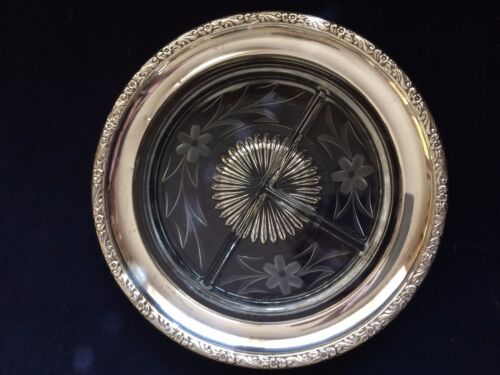 Vintage Sterling Silver With crystal Three Sectional candy/nut Dish