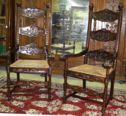 Large Antique Style VeryTall Highback Carved Country French Armchairs Rush Seats