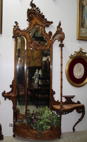 """Antique French Louis XV 10 ft 8"""" Tall Carved Walnut Étagère Entry Mirror C1870"""