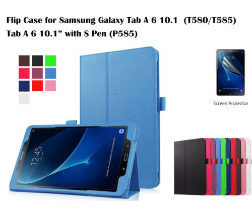 Screen Protector/Flip PU Leather cover case for Samsung Galaxy Tab A6 10.1""