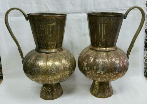 ANTIQUE STYLE MATCHING PAIR ISLAMIC BRASS WATER PITCHERS INLAY SILVER AND COPPER