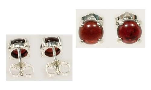 Antique 18thC Garnet Greek Roman Blood Amulet Gemstone Round Stud Earrings