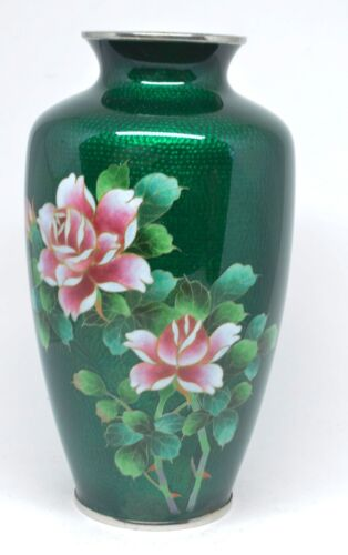 Vintage Japanese Wireless Cloisonne Vase ~ 7.25 Inches Tall ~