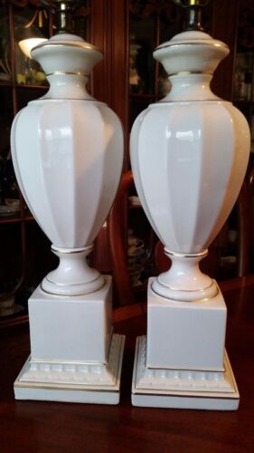 Pair Hollywood Regency Urn Style Porcelain Table Lamps OFF WHITE