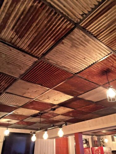 """{10 pcs 23 7/8"""" x 23 7/8"""" }RECLAIMED TIN ROOFING CORRUGATED PANELS/DROP CEILING"""