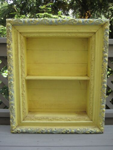 "Antique Shadow Box 3-Tier Ornate Frame Wooden Shadowbox 27.25"" H 23"" W 5.5"" D"