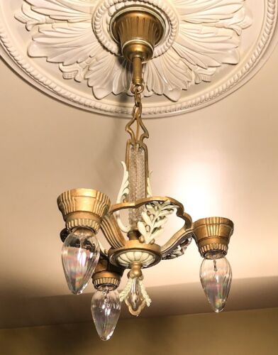 Antique 3 Light Chandelier~ Gold, Cream & Sage~ wheat sheaf design