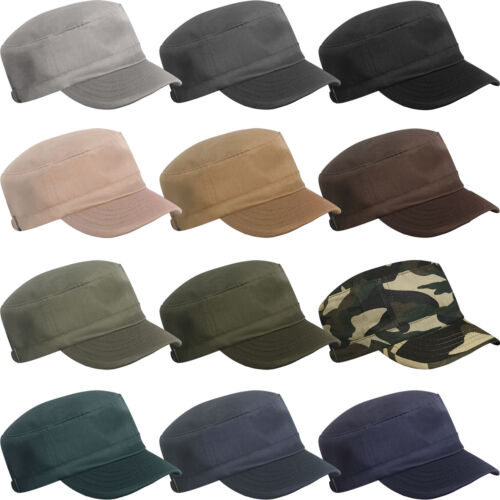 MENS LADIES WOMENS GIRLS MILITARY ARMY STYLE CAP PLAIN COTTON CADET COMBAT HAT