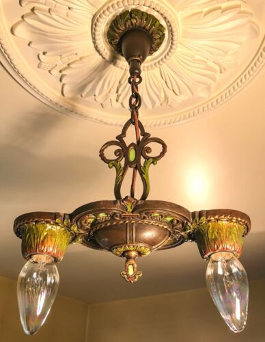 Antique Art Deco Era 2 light Chandelier, Jadeite Stained Glass, Dark Chestnut