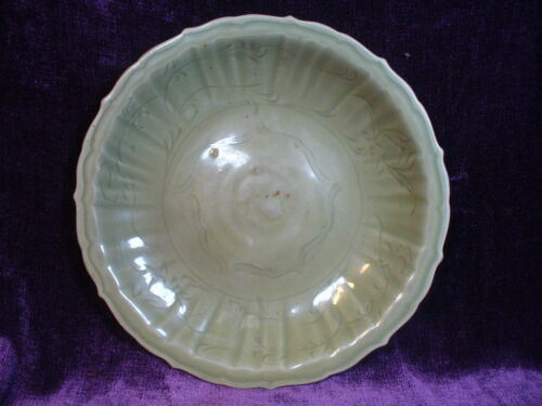 "Antique Chinese Ming dynasty celadon porcelain charger plate 13"" 明龙泉大盘"