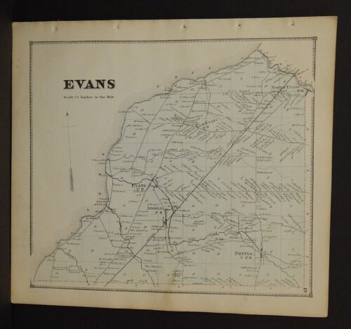 New York Erie County Map Evans Township  c1866  W12#05
