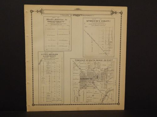 California Tulare County Map Kingsburg Township 1 Dbl Sd 1892 !W12#64