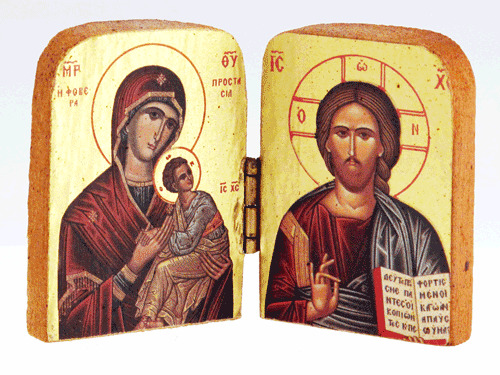 """Orthodox Icon Diptych (3""""x4"""") Wooden w/ Gold Leaf, hand made from Greece -NEW"""