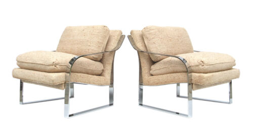 Pair of Bernhardt Flair Sloped Arm Chrome Frame Baughman Style Lounge Chairs