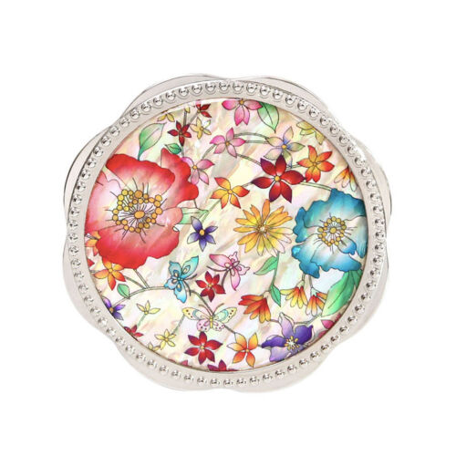 Korean Traditional White Flower Silver Hand Mirror Giftbox Mother-of-pearl TypeA