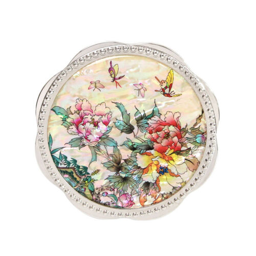 Korean Traditional White Flower Silver Hand Mirror Giftbox Mother-of-pearl TypeB