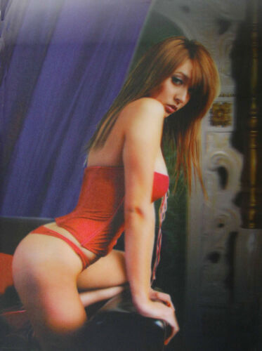 3D Lenticular Poster - Brunette Girl with Red Bodice - 10x14 Print - Risque