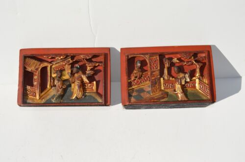 2 FANTASTIC ANTIQUE CHINESE HAND CARVED WOOD PANEL HUMAN SCENES  BOOKENDS