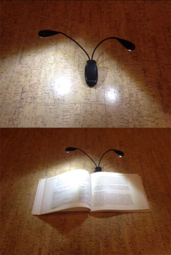 Super Bright Flexible 2 ARMS 8 LEDS Clip On Book Table Lamp - AU STOCK