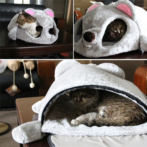 Soft Warm Foldable Mouse-shaped Pet Bed House Small Cat Dog Cozy Nest Mat Pad