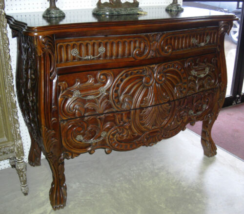 Antique Style Country French Serpentine Hand Carved Mahogany Chest Console