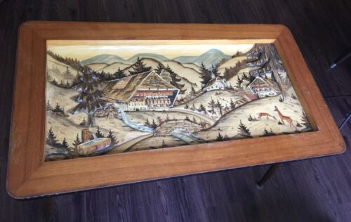 Mid Century Wooden Coffee Table 3D BLACK FOREST GERMANY CARVED c. 1960s German