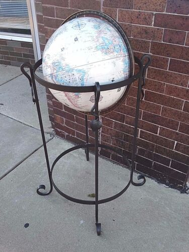 "Paul McCobb Vintage Mid Century 16"" World Globe w/ iron Metal Art stand Replogle"
