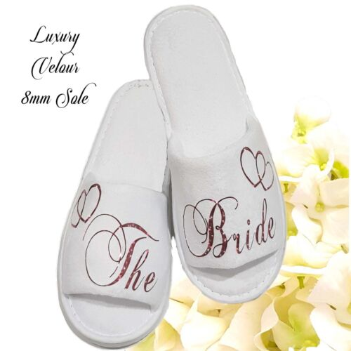 Bride Bridesmaid Bridal Slippers Wedding Sparkling Red Any Role <br/> LUXURY THICK PLUSH VELOUR SLIPPERS with a  8mm Sole