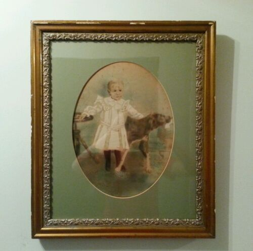 Antique Vintage Picture Art Foto Frame Carved Wood Gesso Gold Gilt