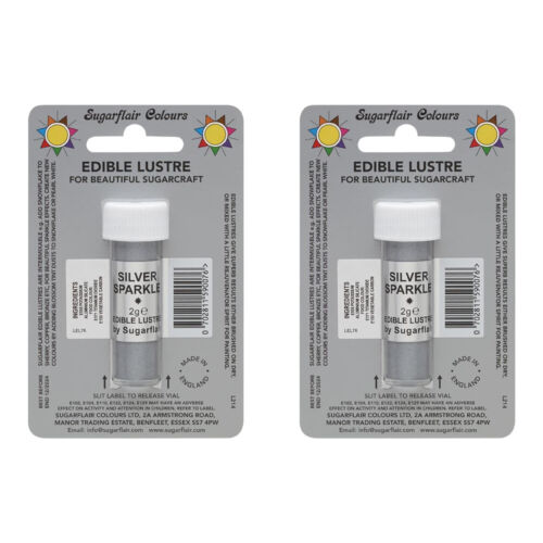 2 x SugarFlair Edible Silver Sparkle Lustre Powder Food Colour Icing Cake Decor