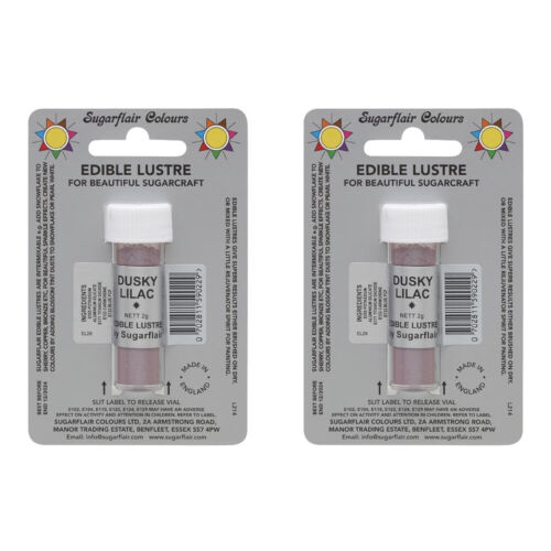 2 x SugarFlair Edible Dusky Lilac Lustre Powder Food Colour Icing Cake Decor