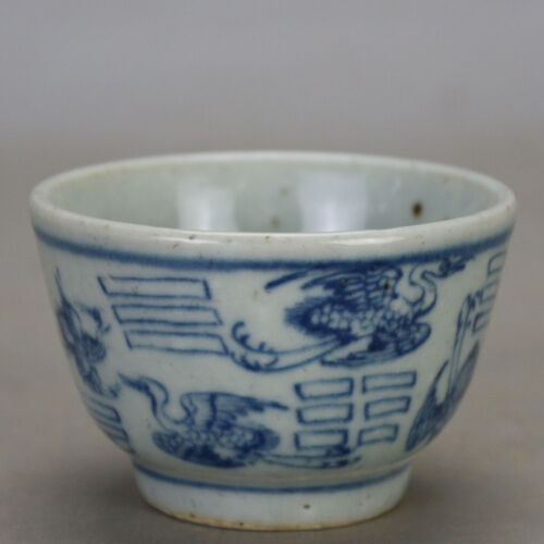 old chinese Ming dyn Wanli blue and white porcelain tea cup a16