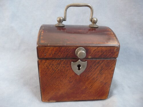 antique biedermeier wooden tea caddy chest box teedose w pewter mount 19.th c