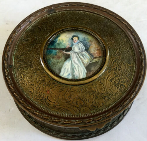 Miniature Painting Ivory Signed Antique French Sewing Trinket Box Bronze  Woman