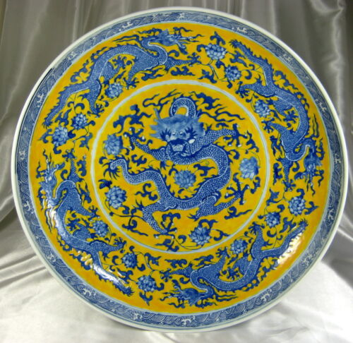 CHINESE 19th C.YELLOW PLATE BLUE DRAGON CHARGER PLATE SIGNED KANGXI