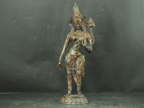 Japanese Antiques Old copper statue BUDDHIST KANNON Bodhisattva from JAPAN a440