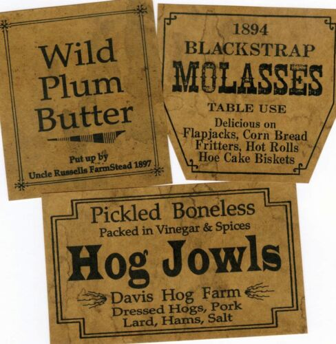 Prim Kitchen Hog Jowls Jelly Cupboard Farmhouse Grungy Labels
