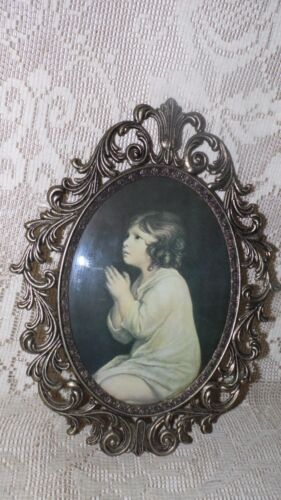 VINTAGE LITTLE GIRL PRAYING ITALY ORNATE METAL FRAME CONVEX BUBBLE GLASS PICTURE