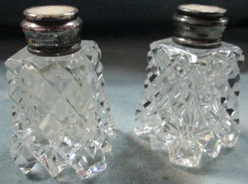 Diamond Point Cut Glass Salt & Pepper Sterling Silver & Mother Of Pearl Tops